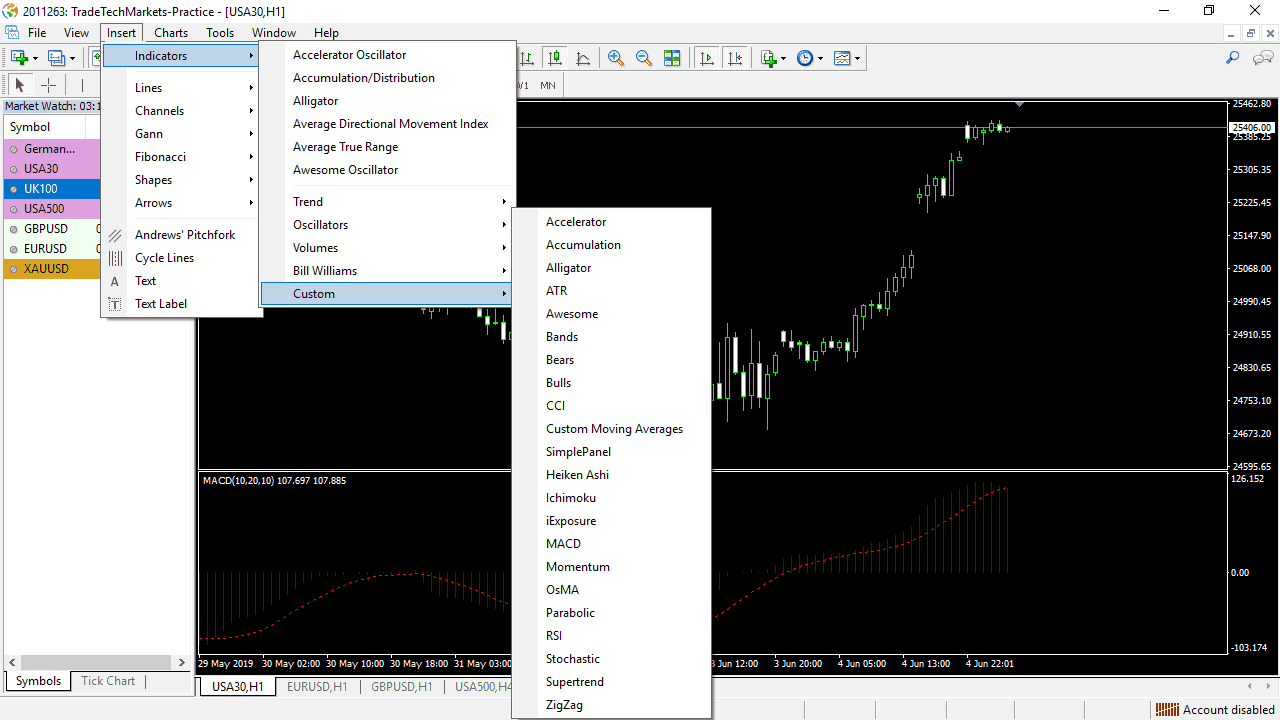 Showing the location of custom indicator lists.