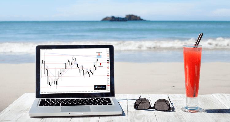 An imagine showing someone trading with a laptop on a beach.