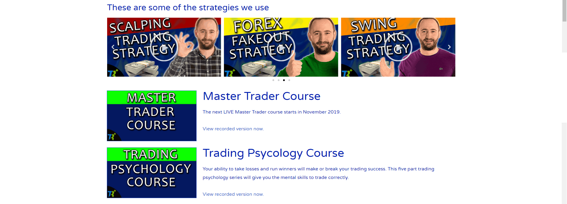 A picture showing the strategy courses in the members area.
