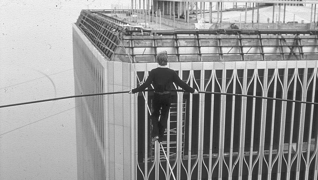 A picture of a tightrope walker to illustrate how hard day trading is.