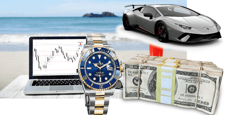 A picture showing 'trading bling' including a fast car, nice watch and cash.