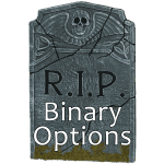 A headstone stating 'RIP binary options'