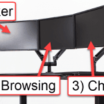 A picture showing three computer monitors with their respective labels.